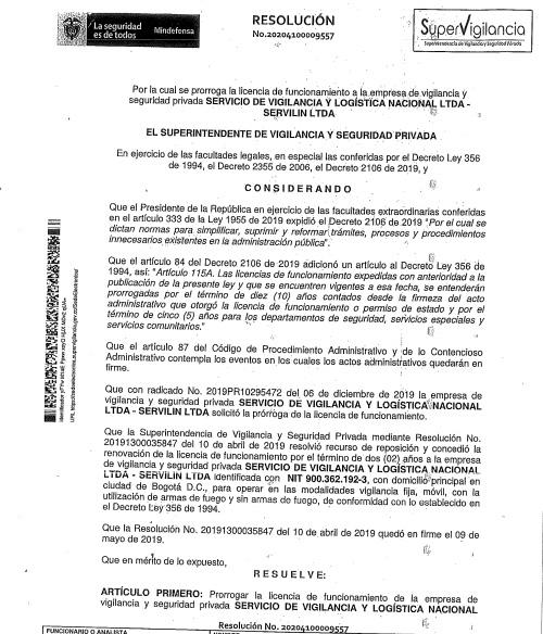 PRÓRROGA LICENCIA DE FUNCIONAMIENTO